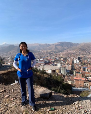 Now a postpartum nurse with INOVA Health Systems, Lyka Ante '20 spent a semester in Peru, working at a government-run clinic caring for infants. Photo courtesy of Lyka Ante.