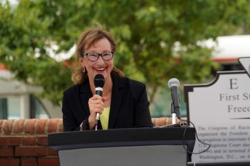 """Mayor Mary Katherine Greenlaw described the unveiling of the marker as """"a transformational event."""" Photo by Suzanne Carr Rossi."""