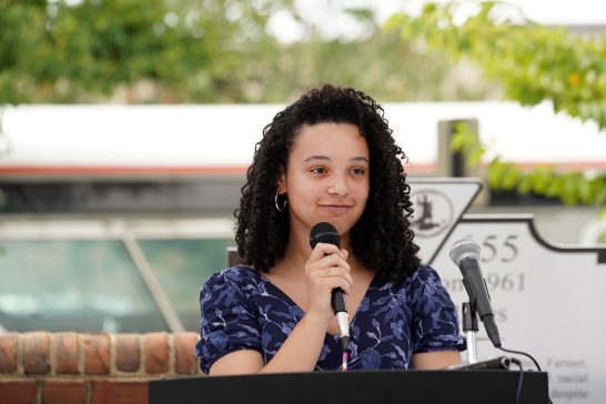 UMW student Sydney Baylor, who helped bring the project to fruition, read aloud the names of the original Freedom Riders, while a bell tolled for each. Photo by Suzanne Carr Rossi.