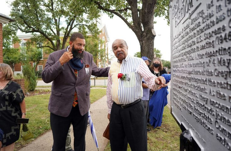 Vice Mayor Chuck Frye chats with Freedom Rider Dion Diamond about the historical marker unveiled in Fredericksburg yesterday. Photo by Suzanne Carr Rossi.