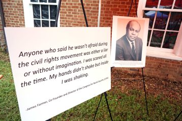 A picture of Dr. James Farmer was displayed alongside a quote from the late Mary Washington history professor and giant of the civil rights movement. Photo by Suzanne Carr Rossi.