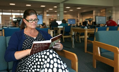 A class working at the Stafford Campus library