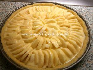 Apfelkuchen mit Sahneguss und Streuseln