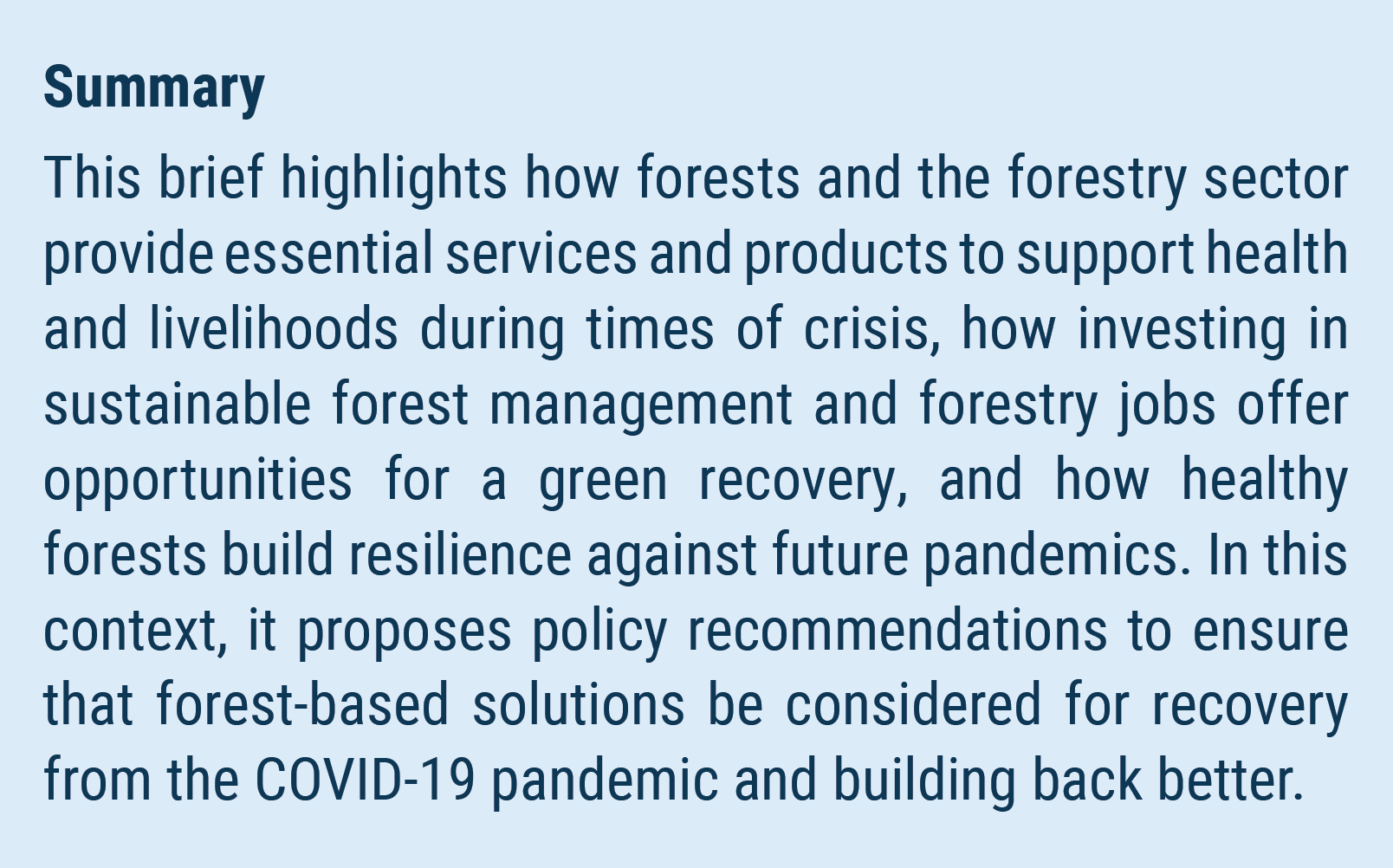 Concerning also the financial aspects of afforestation percival trentham have to make sure that the practice of forestry: Un Desa Policy Brief 80 Forests At The Heart Of A Green Recovery From The Covid 19 Pandemic Department Of Economic And Social Affairs