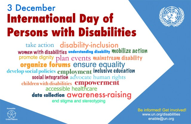 international day of persons with disabilities. Image contains keywords such as Take action, disability inclusion, women with disabilities etc.,