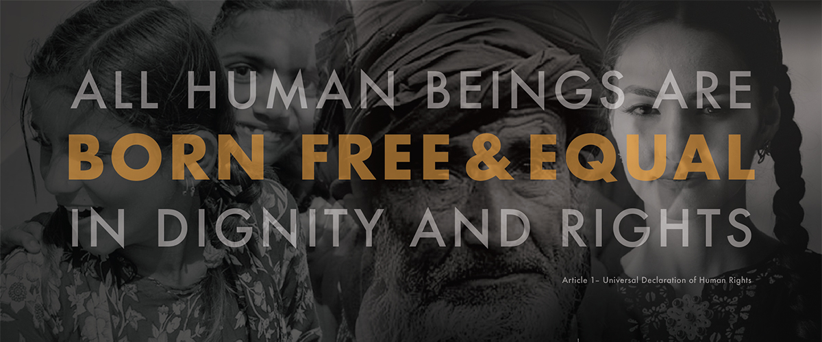sign over diverse faces: All human beings are born free and equal in dignity and rights. - Article 1 of the Universal Declaration of Human Rights