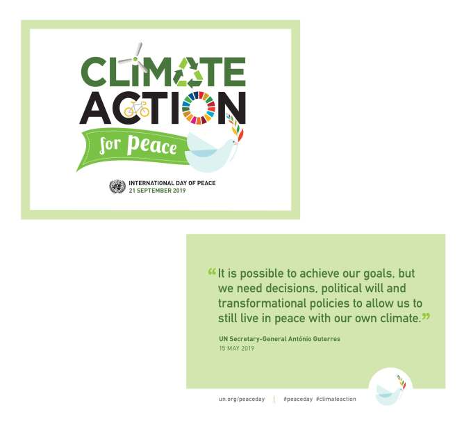 Climate action for peace postcard.