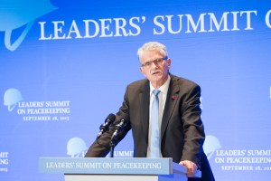 Mogens Lykketoft, President of the seventieth session of the General Assembly addresses the Leaders' Summit on Peacekeeping