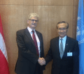 Mogens Lykketfot, President of the UN general assembly met with the President of Thailand