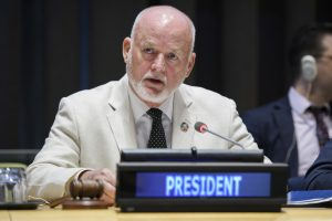 HE. Mr. Peter Thomson, President of the General Assembly of the United Nations, addresses the GA. General Assembly Seventy-first session High-Level Debate on Transnational Organized Crime (in observance of the twenty-fifth anniversary of the assassination of Judge Giovanni Falcone)