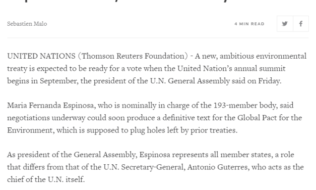 """""""If you don't fix the relationship between society, nature and the economy, it won't work,"""" PGA speaks with REUTERS about the Global Pact for the Environment"""