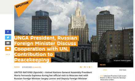 UNGA President, Russian Foreign Minister Discuss Cooperation with UN, Contribution to Peacekeeping
