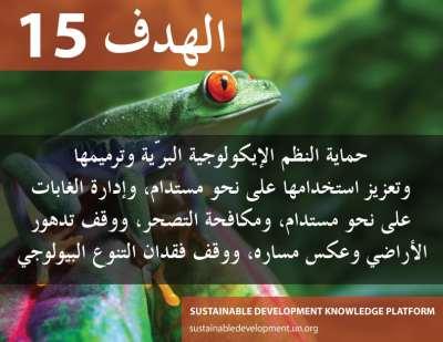 الهدف 15 - حماية النظم الإيكولوجية البرية وترميمها وتعزيز استخدامها على نحو مستدام، وإدارة الغابات على نحو مستدام، ومكافحة التصحر، ووقف تدهور الأراضي وعكس مساره، ووقف فقدان التنوع البيولوجي