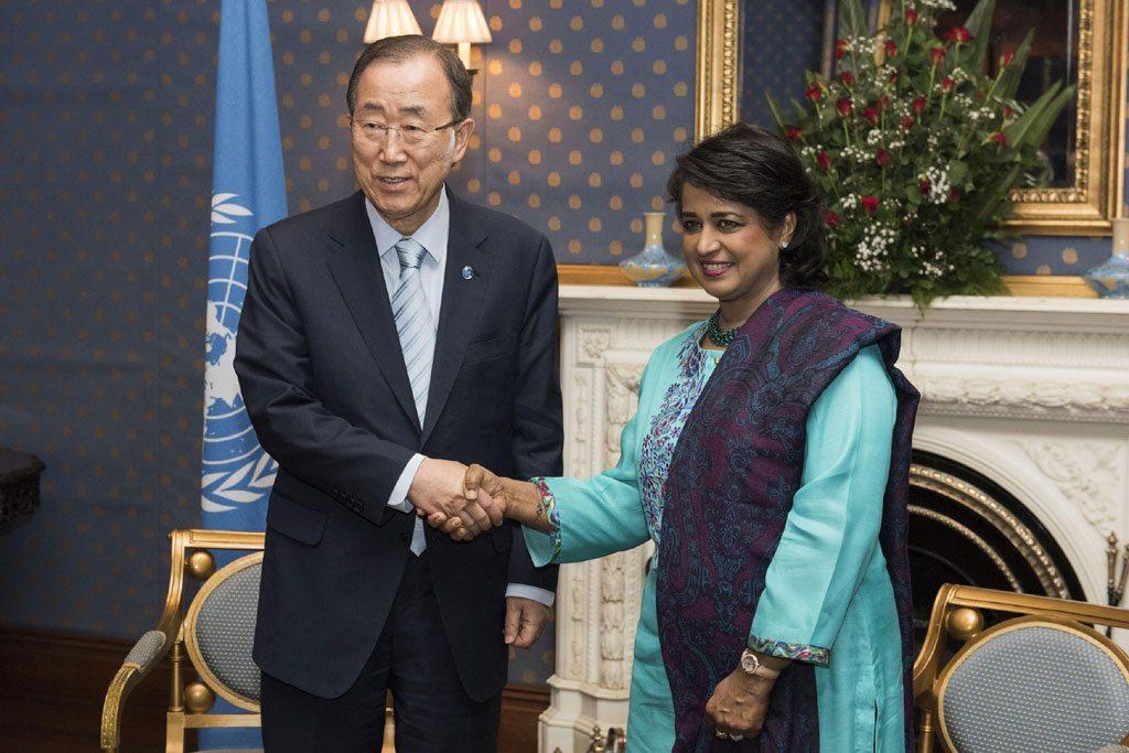 الأمين العام يلتقي رئيسة موريشيوس. الصورة: الأمم المتحدة-مارك غارتن