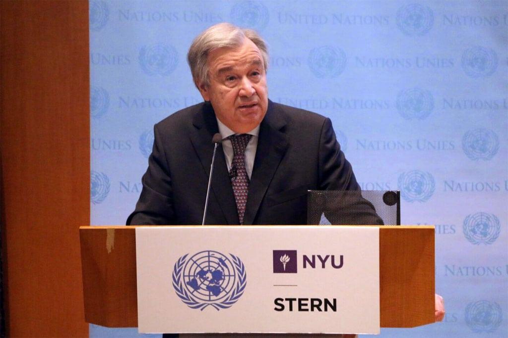 António Guterres en la Escuela de Negocios Stern de la Universidad de Nueva York. Foto: Florencia Soto Nino