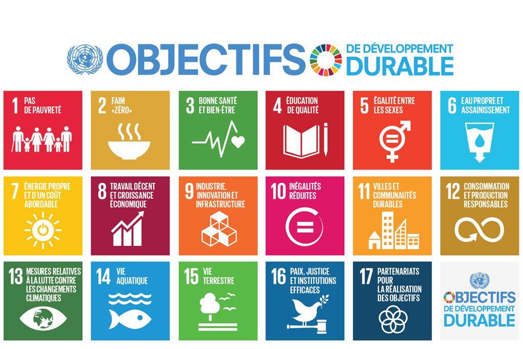 Les 17 Objectifs de développement durable (ODD) du Programme de développement durable à l'horizon 2030 de l'ONU.