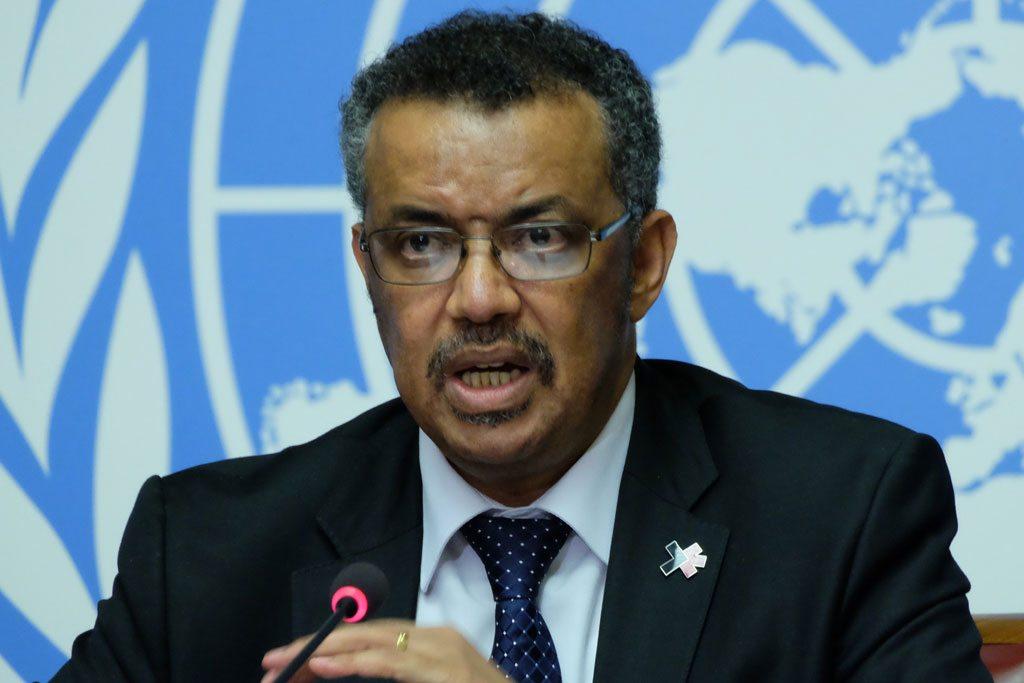 Le Dr. Tedros Adhanom Ghebreyesus, Directeur général de l'OMS élu, lors d'une conférence de presse à Genève. Photo ONU/Daniel Johnson