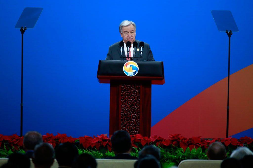 Le Secrétaire général António Guterres au forum 'La Ceinture et la Route' à Beijing, en Chine. Photo ONU/Zhao Yun
