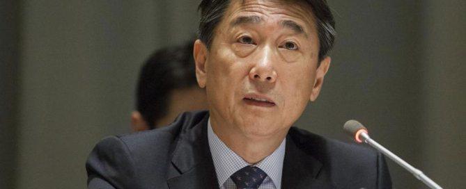 О Джун обращается к участникам Политического форума. Фото ООН/Луи Фелипе