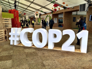 Photo: A giant #COP21 is on display in Paris on 1 December.
