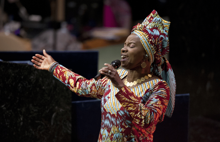 Angelique Kidjo Performing The Song Africa At Pre Opening Ceremony Of