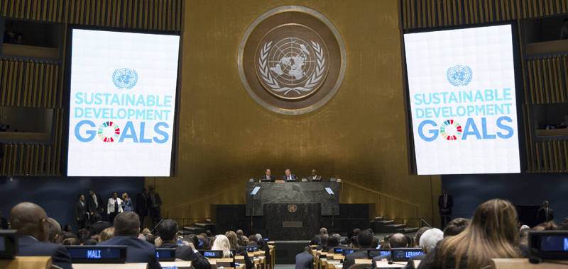A view of the General Assembly Hall during the United Nations summit for the adoption of the post-2015 development agenda. UN Photo/Loey Felipe