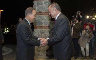 Secretary-General Ban Ki-moon meets with the President of Slovakia, Andrej Kiska.