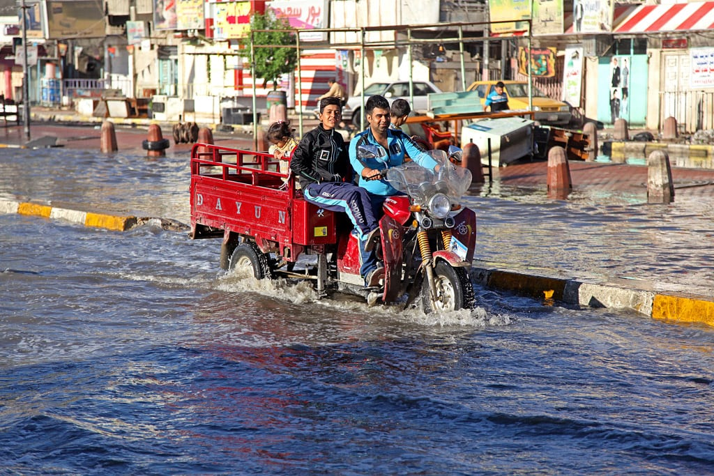 A flooded street in Baghdad, after heavy rain in late October 2015 inundated several areas of Iraq. Photo: UNICEF/Wathiq Khuzaie