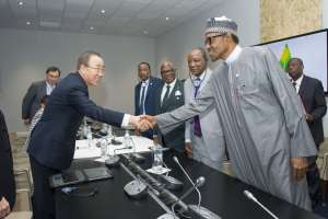 Photo: Ban Ki-moon (left) greets Muhammadu Buhari, President of Nigeria, during his meeting with West African leaders on the margins of the UN Conference on Climate Change (COP21) in Paris, France.