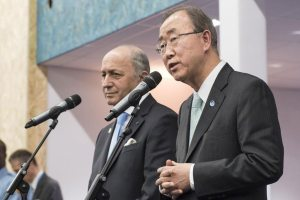Photo: Secretary-General Ban Ki-moon (right) and French Foreign Minister Laurent Fabius, President of the UN climate change conference (COP21), brief the press in Paris.