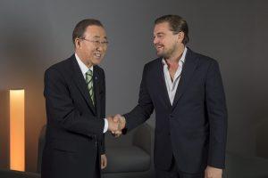 Photo: Secretary-General Ban Ki-moon speaks with UN Messenger of Peace Leonardo DiCaprio.