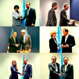 Photo: Ban Ki-moon meets with many foreign ministers on 11 December in Paris.