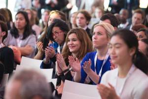 "Photo: Audience members listen to Ban Ki-moon address the ""Earth To Paris"" event."