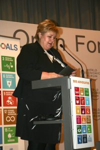 Photo: SDG Advocate and Norway Prime Minister Erna Solberg delivers remarks at the event.