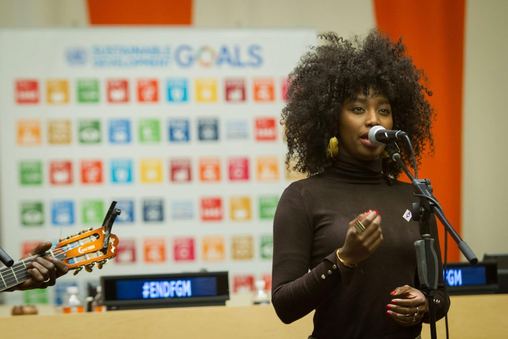 """Photo: French-Malian singer Inna Modja performs during a special event, """"Mobilizing to Achieve the Global Goals through the Elimination of Female Genital Mutilation (FGM) by 2030."""""""