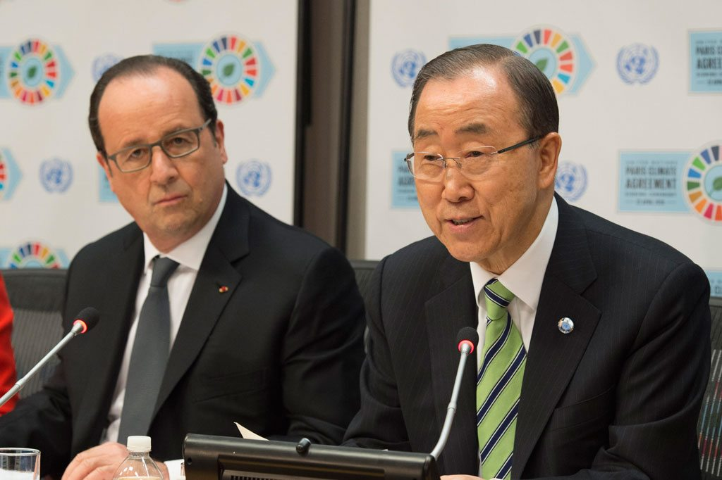 Photo: Secretary-General Ban Ki-moon (right) and President François Hollande of France brief the press. UN Photo/Eskinder Debebe