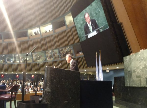 Photo: Secretary-General Ban Ki-moon addresses the audience at the Paris Agreement Signing Ceremony.