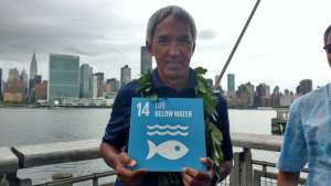 Photo: Hokulea Crew Master Navigator Nainoa Thompson knows it's critical to support oceans via Goal 14 of the #GlobalGoals.