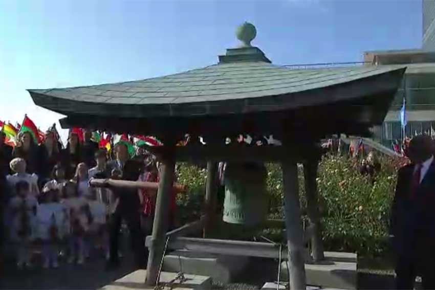 Photo: Secretary-General Ban Ki-moon at the Peace Bell Ceremony on the occasion of the International Day of Peace 2014. Credit: UN Webcast video capture