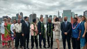 Photo: Secretary-General and USG Gyan Chandra Archaya at friendship ceremony where the Hokulea sustainable canoe docked in Long Island City, NY