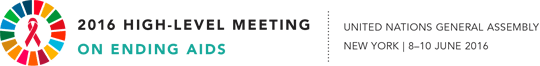 Logo: 2016 High-Level Meeting on Ending AIDS | United Nations General Assembly New York | 8-10 June 2016
