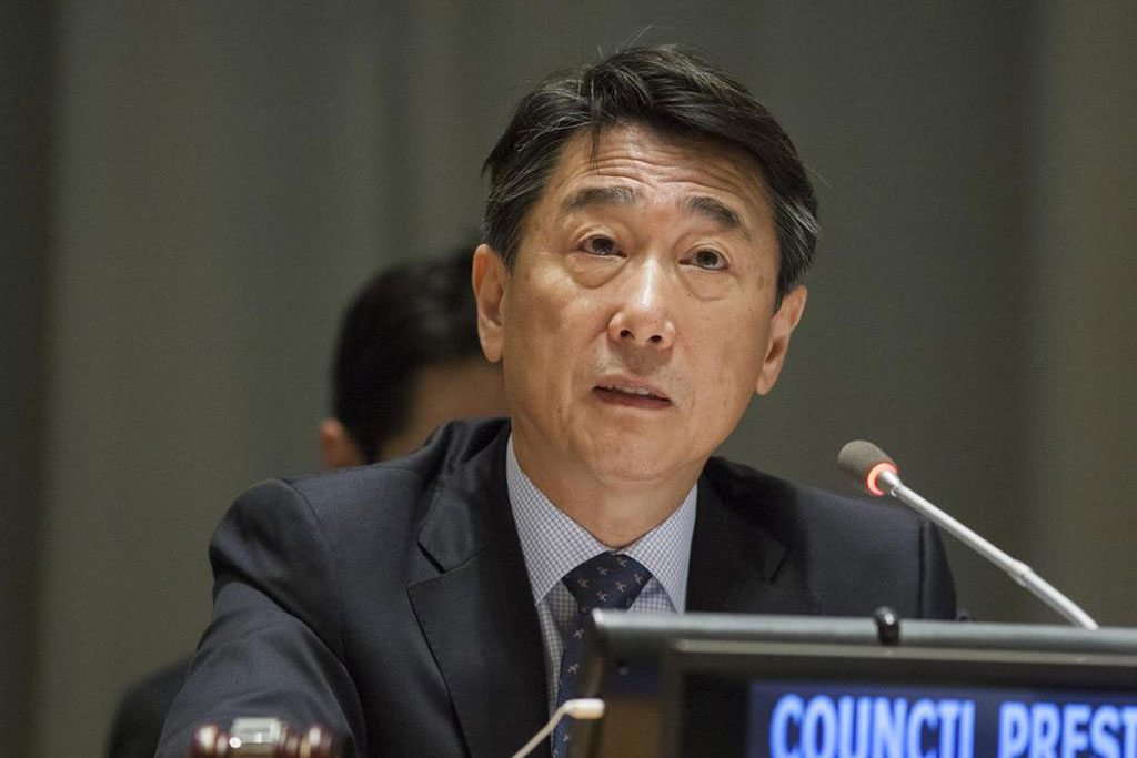 Photo: President of ECOSOC Oh Joon addresses the UN High-level Political Forum on Sustainable Development. UN Photo/Loey Felipe