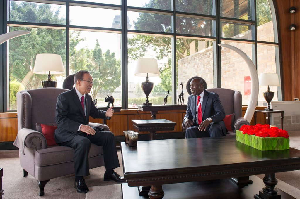 Photo: Secretary-General Ban Ki-moon (left) meets with Willy Bett, Cabinet Secretary of the Ministry of Agriculture, Livestock and Fisheries of the Republic of Kenya, on the margins of the the fourteenth session of the UN Conference on Trade and Development (UNCTAD). UN Photo/Rick Bajornas