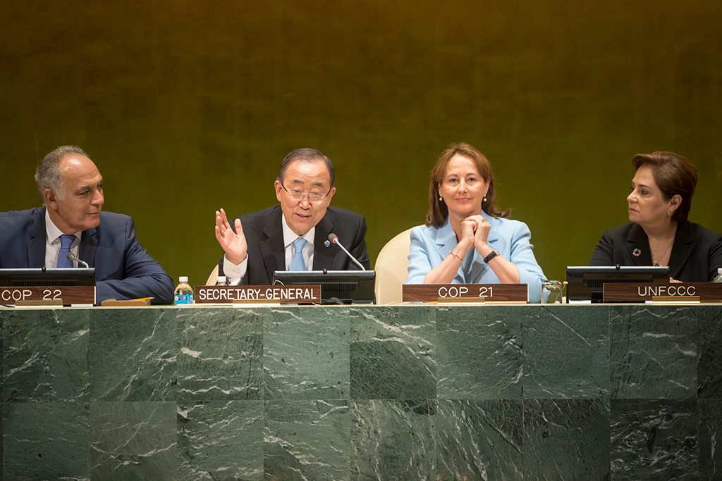 Photo: Secretary-General Ban Ki-moon (centre left) during the High-level Event on the Entry into Force of the Paris Agreement.