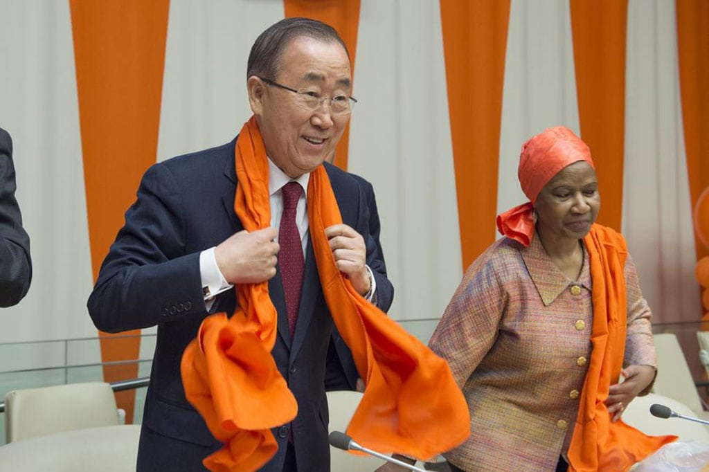 """Photo: Secretary-General Ban Ki-moon (left) and Phumzile Mlambo-Ngcuka, Executive Director of UN Women during a special event entitled """"Orange the World: Raise Money to end Violence against Women,"""" commemorating the International Day for the Elimination of Violence against Women (25 November)."""
