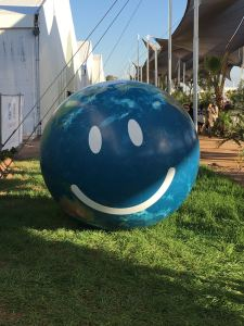Photo: A happy-face globe outside COP22.