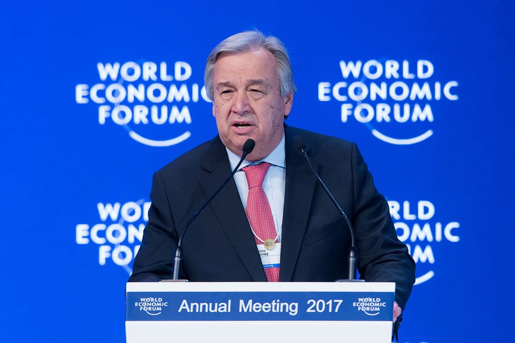 Photo: Secretary-General António Guterres addresses the World Economic Forum in Davos, Switzerland, 19 January 2017.