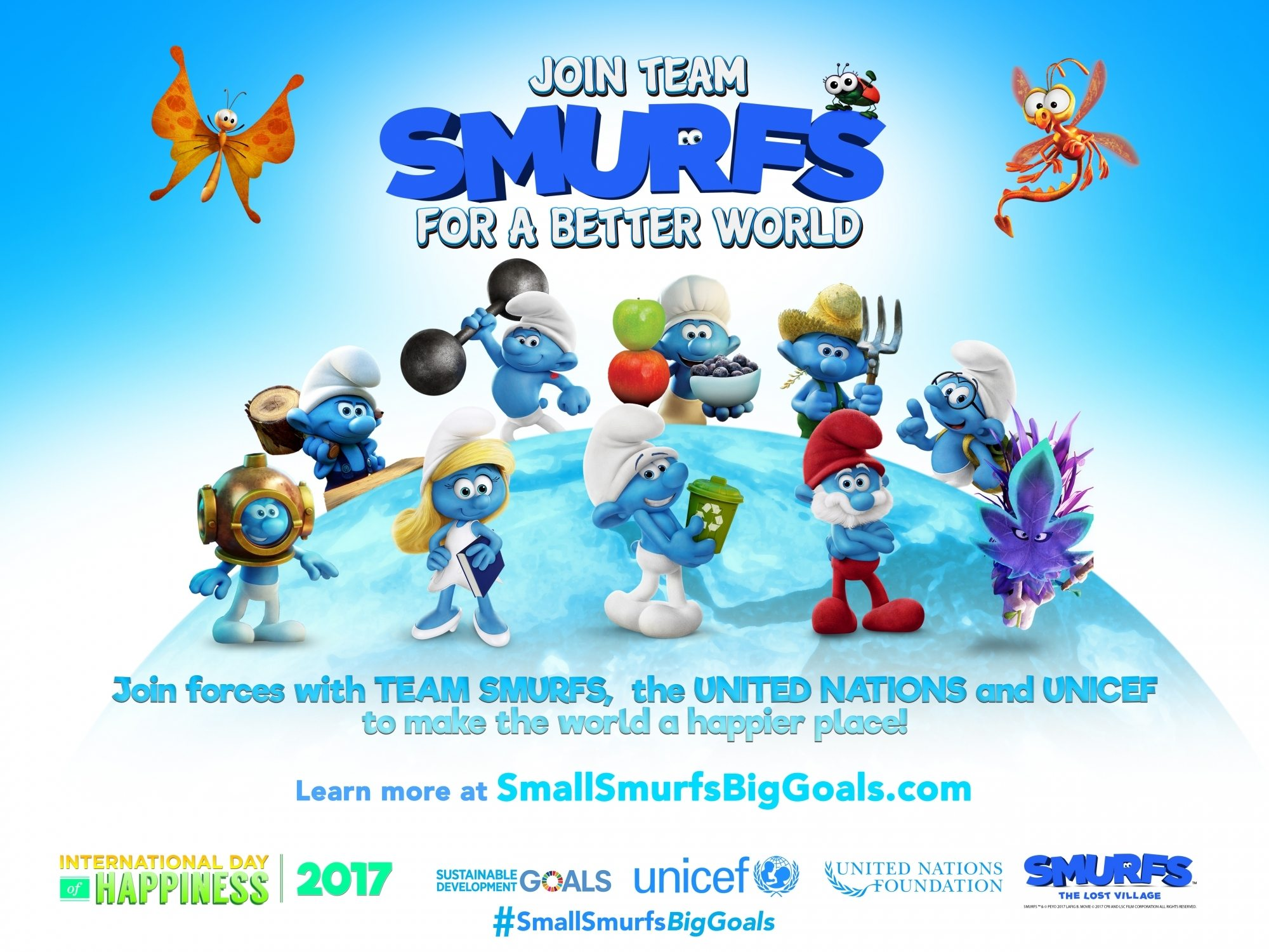 Image: Smurfs and SDGs campaign poster