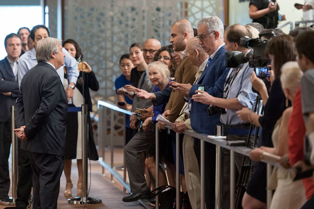 The Secretary-General speaks to journalists at a press encounter at UN Headquarters in August 2017. UN Photo/Mark Garten