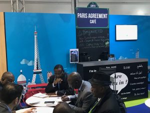 Photo: The French Pavilion features the Paris Agreement cafe.